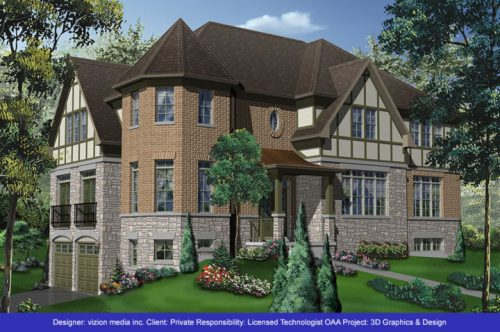 3D elevation of Tudor Design Style